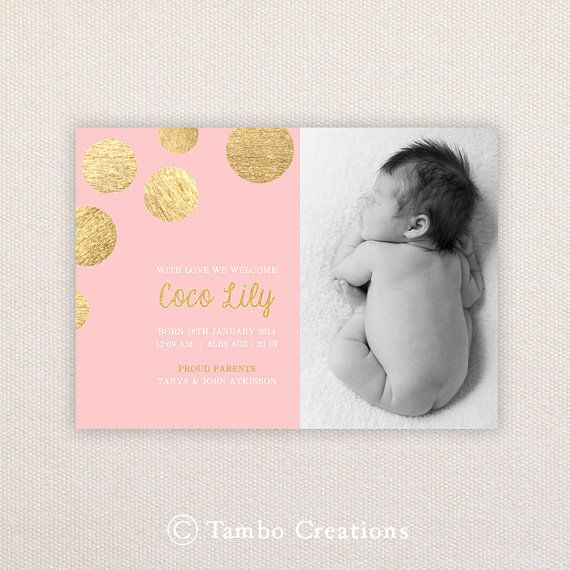 Girls Photo Birth Announcement. Metallic gold spots. I Customize, You Print. on Etsy, $15.99
