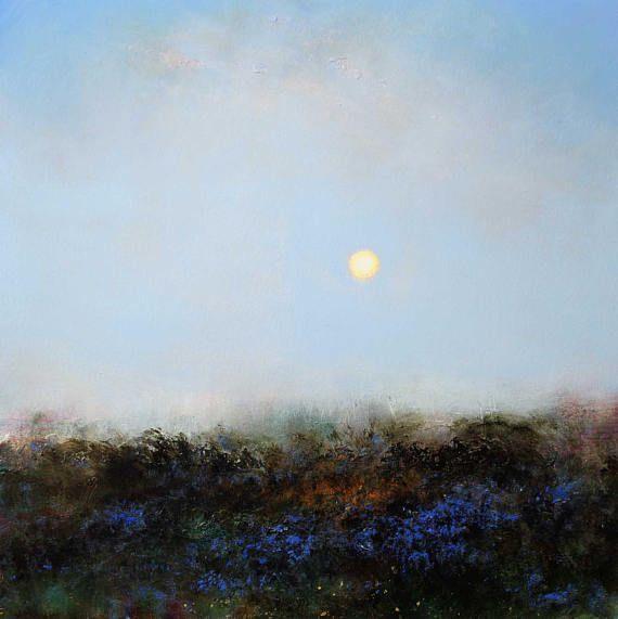 Sunrise through mist near tregeseal stone circle