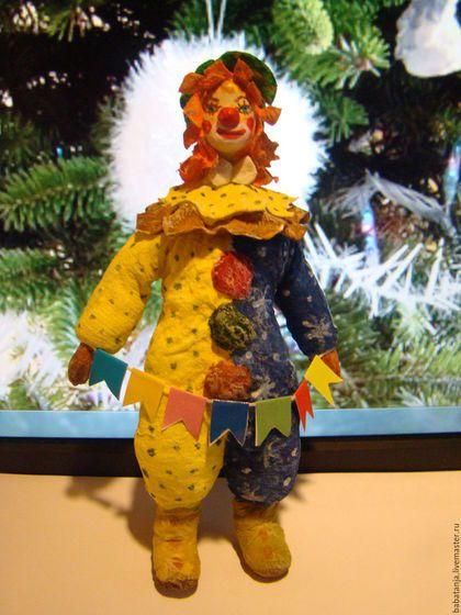 Новый год 2016 ручной работы. Ярмарка Мастеров - ручная работа. Купить ватная игрушка на елку - Рыжий клоун. Handmade. Комбинированный