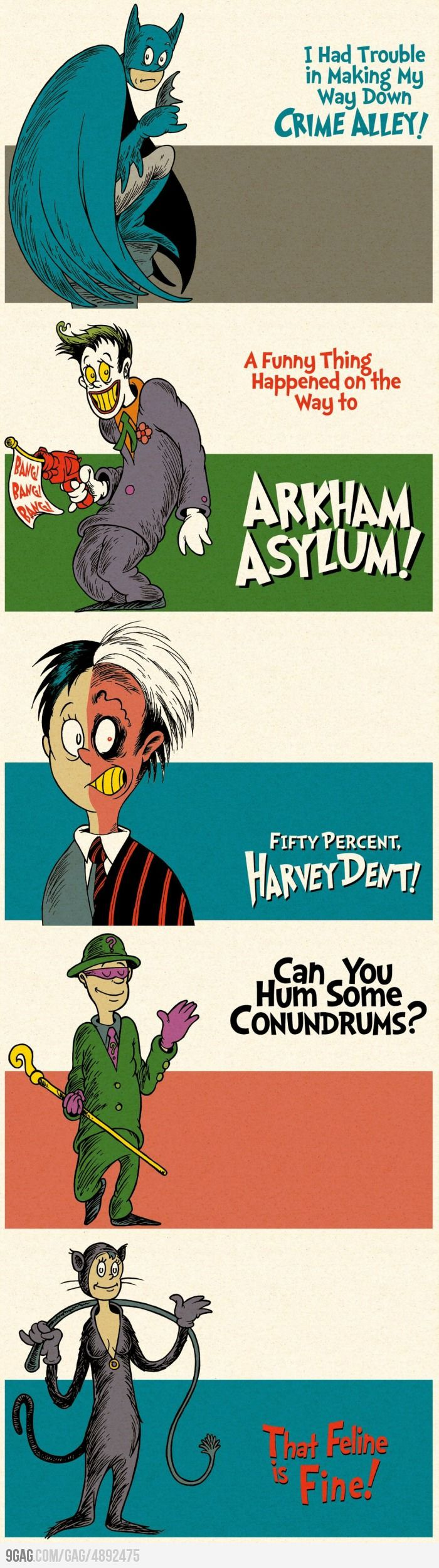 Batman drawn in the style of Dr. Seuss...