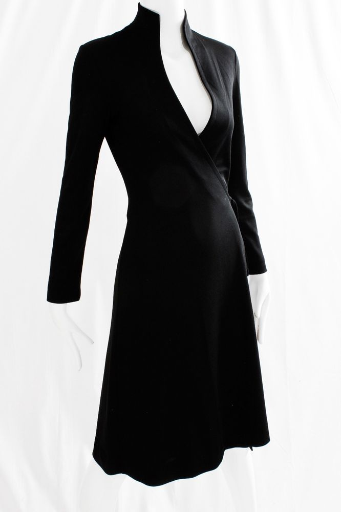 924e974f8def 70s Clovis Ruffin Black Jersey Wrap Dress with Swan Neck Collar Vintage Sz 7 /8 #ClovisRuffinRuffinwear #WrapDress #AnyOccasion