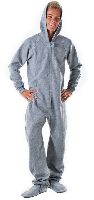 Footed #Pajamas Laid-back Gray Adult Hoodie One Piece