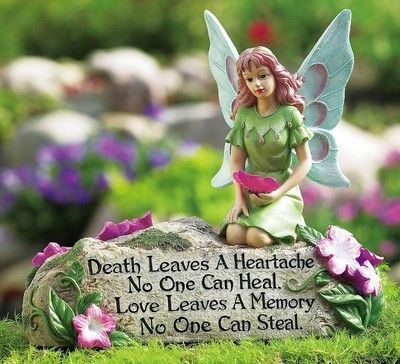 Colorful Fairy and Flowers Memorial Garden Stone