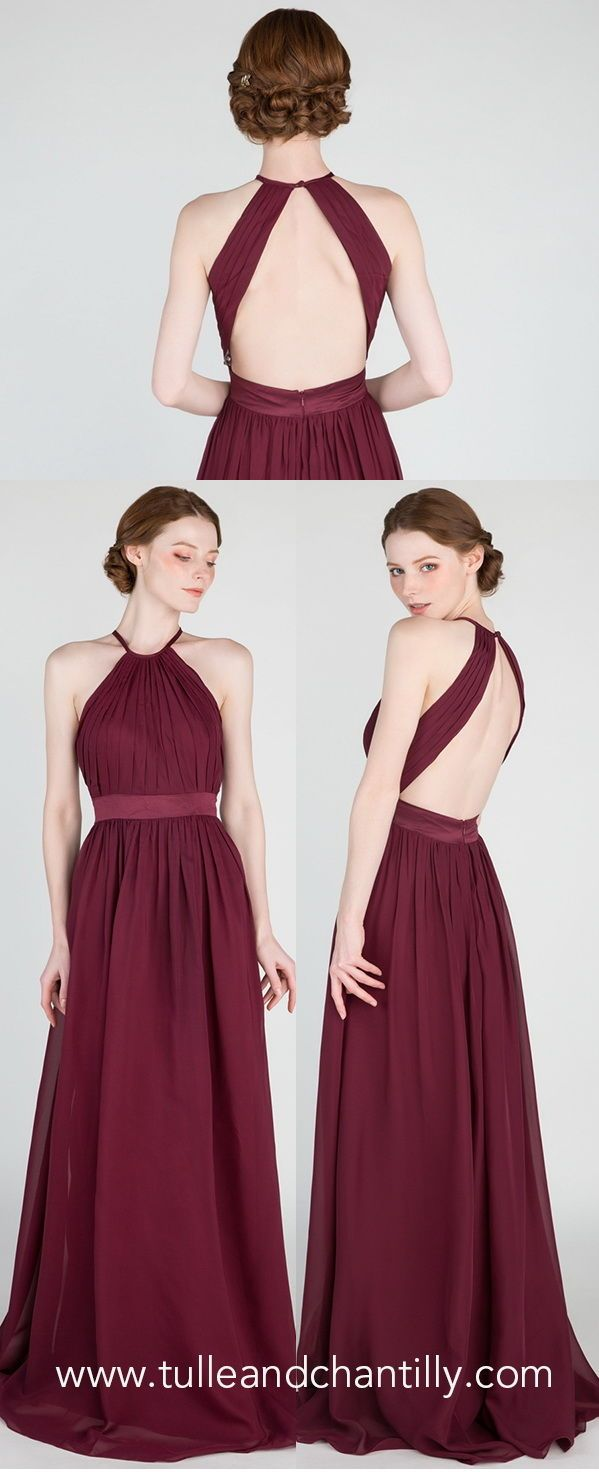 Gorgeous Long Backless Bridesmaid Dress With Belt Tbqp431 In 2020 Backless Bridesmaid Dress Dresses Burgundy Bridesmaid Dresses