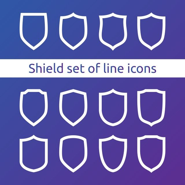Shield Logo Symbol Icon Set With Outline Line Style Vector Illustration Template Concept For Security Vpn Protection Verified Warranty Icons Converter Icons Website Branding Logos Creative Photography Logo