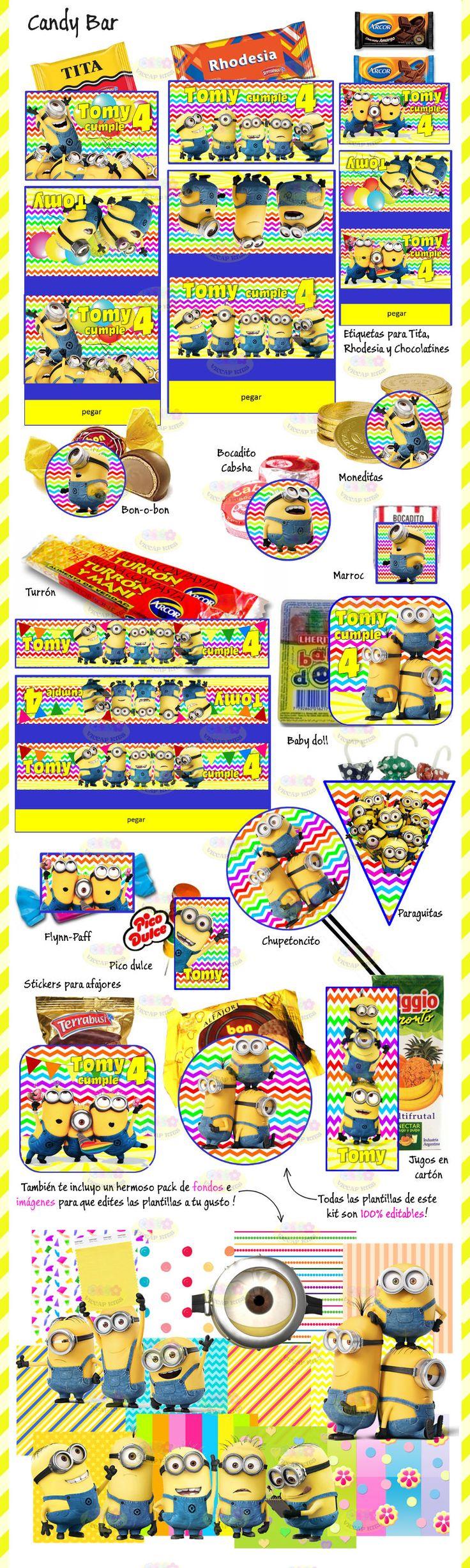 (8) Kit Imprimible Minions Mi Villano Favorito Candy Bar Invitac - $ 44,90 en MercadoLibre
