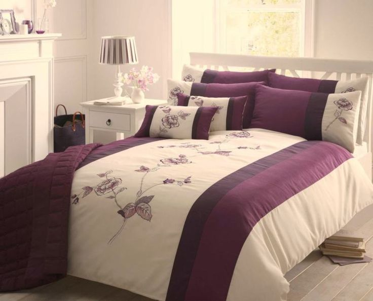 Beautiful Cream And Purple Bedroom Ideas Part - 6: Purple U0026 Cream Double Duvet Cover - Floral Bed Set - Embroidered Bed Linen  | EBay