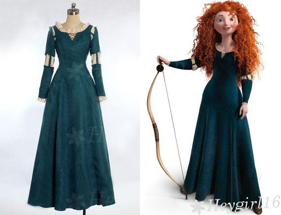 Newly Top Dark Green Brave Princess Merida Cosplay Costume