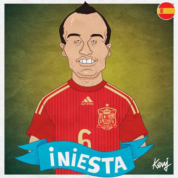 Worldcup 2014 caricatures - Spain by Keuj Bardoux, via Behance