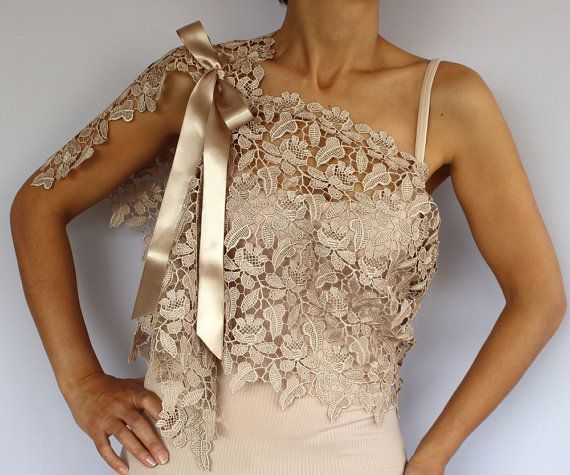 This capelet is made of lace ecru beige color (also available in red colors) Althought its rectangular shaped, my unique design, it can be used in different styles with asymmetrical looks, due to the placement of the satin ribbon lacings (1.2). You can create your own style with this complementary accessory having such a modern, minimal yet rich look. It can be also a perfect bridesmaids gift! Dim. 51.2 x 13.4 (130x34 cm). Produced in pet and smoke-free medium. Ready to ship! You ca...