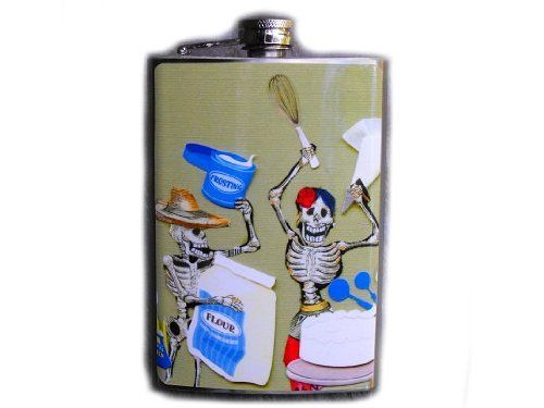 Day of the Dead Decorated Stainless Steel Flask - 8oz - The Baker Fd295 . $18.00. This very unique flask is decorated with a durable image on the front only. The flask holds 8oz of your favorite liquor.