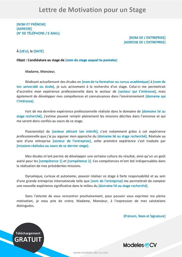 Exemples De Lettre De Motivation Pour Un Stage Lettre Gratuite Lettre De Motivation Stage Exemple De Lettre De Motivation Lettre De Motivation