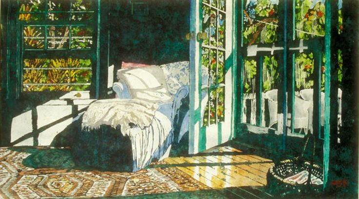 sunlight flooding the room marthas 26x40  bfs  micheal zarowsky / watercolour on arches paper / (private collection)