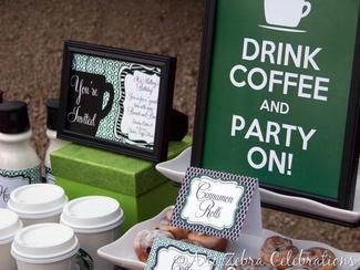 Use Green And Brown To Create Labels For Your Coffee Themed Party Decorations Hwtm
