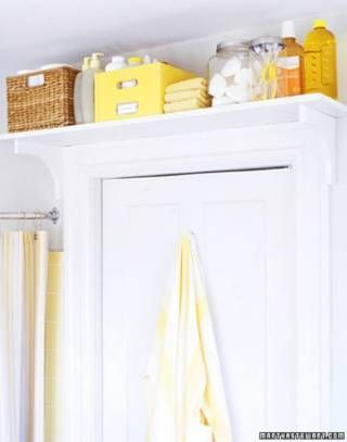 Put a book shelf above your door for extra storage. - 30 Brilliant Bathroom Organization and Storage DIY Solutions