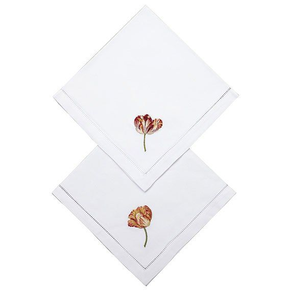 Bring the outdoors in with these delightful set of 100% cotton napkins, featuring hand-embroidered parrot tulips in two different designs.