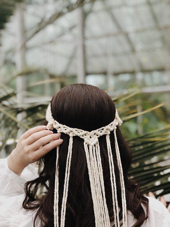 Makramee Kopfschmuck – weiße Baumwolle – Boho – Kopfschmuck – Krone – Hochzeit Tiara – Ve …   – Products