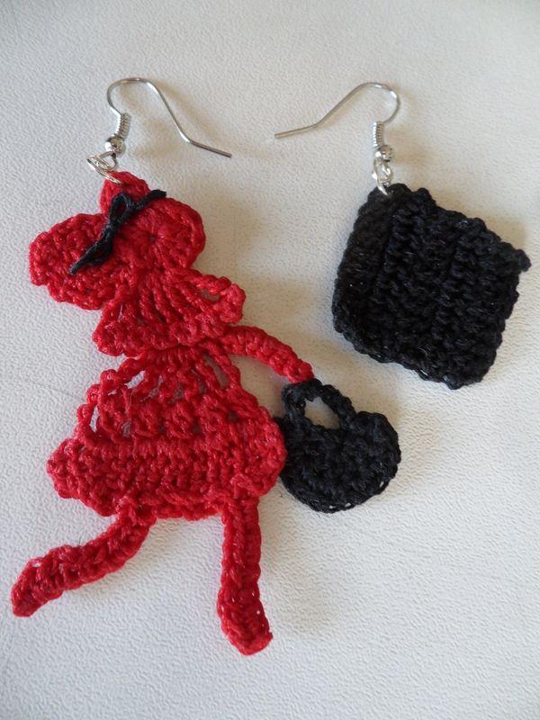 Orecchini a forma di bambolina e di animali: schemi all'uncinetto 2D ...