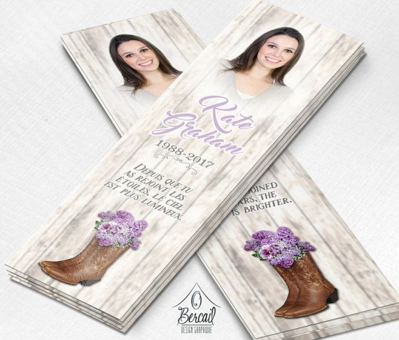 Country Memorial Bookmark for Woman with Cowboy Boots and Purple Flowers • Cowgirl Funeral Bookmarks • Country Girl Celebration of Life • OBercailDesign