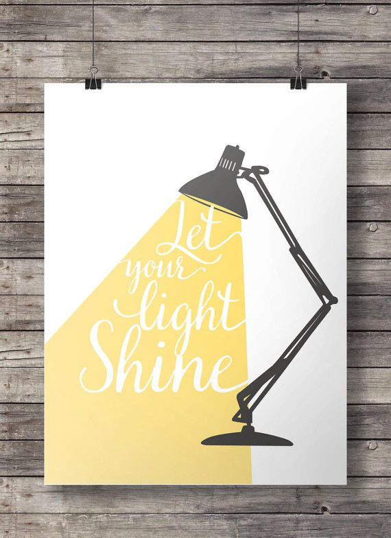 Let your light shine - Hand lettered typography Printable wall art print INSTANT DOWNLOAD