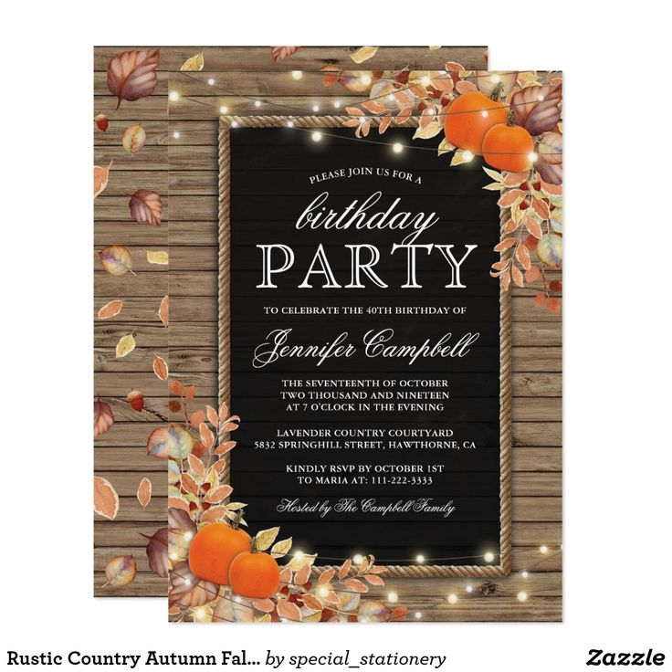 Rustic Country Autumn Fall Birthday Party Card Rustic harvest birthday party invitations featuring a country chic wooden background, black chalkboard centrepiece, rope, halloween pumpkins, fall foliage, acorns, a scattering of autumn leaves, string twinkle lights and a personalized party invitation text template.