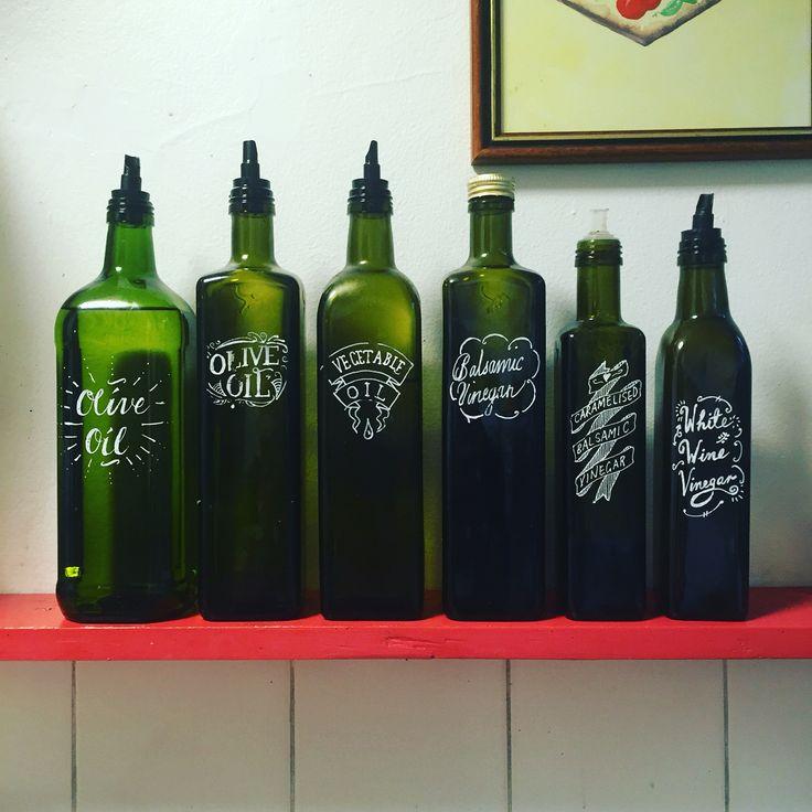 My oils and balsamics, work in progress... #calligraphy #type