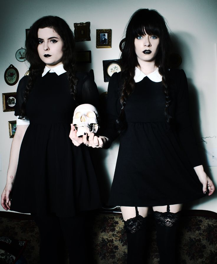 Spooky Salem witches or Wednesday Addams