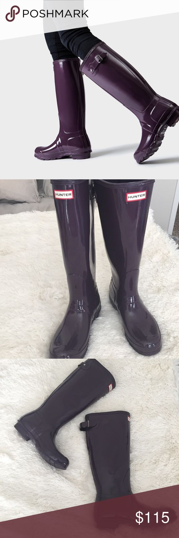 Authentic Tall Hunter Rain boots Purchased at Lord & Taylor and worn once very briefly. In excellent condition and a beautiful dark purple, glossy color. US size 9, but runs big, as is typical of Hunter. Hunter Shoes Winter & Rain Boots