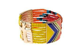KOKOS JEWELS  cuff bracelet with multicolor beads and spacers glaze - golden and enamel finish  details - cross symbol - stretch