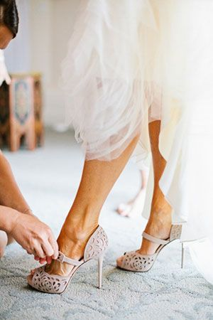 Taupe Laser Cut Wedding Shoes | Birds of a Feather Photography | See More! http://heyweddinglady.com/bridal-styling-secrets-from-my-favorite-fashion-blogs/