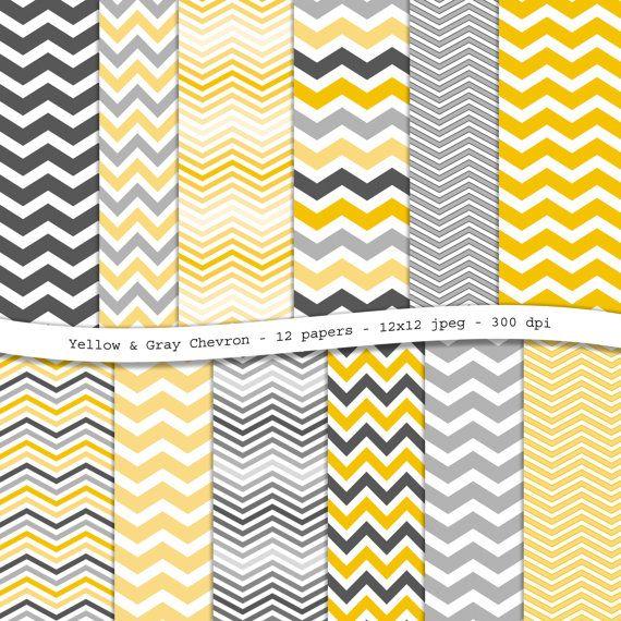 Pack papier scrapbooking numérique de jaune gris Chevron - 12 documents jpeg imprimable, 12 x 12, 300 dpi - téléchargement immédiat
