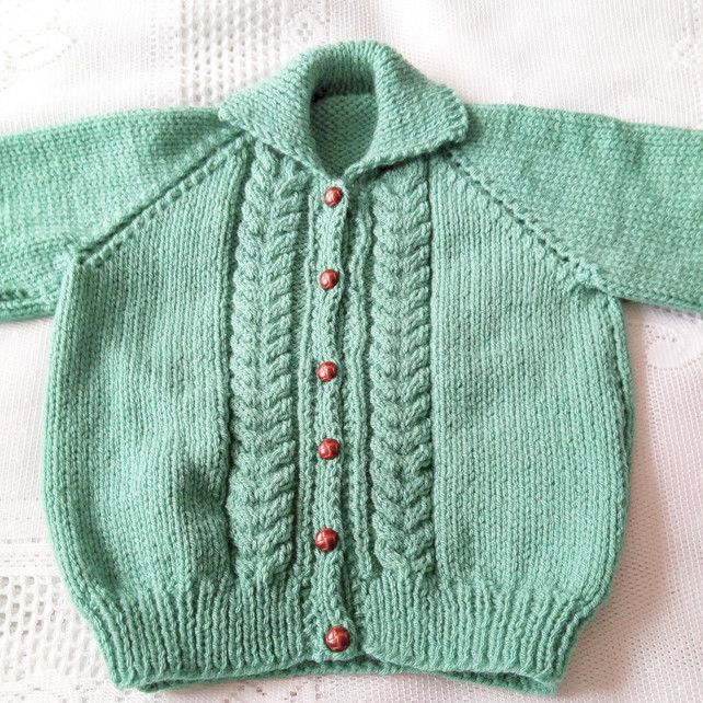 childrens chunky cardigan//jacket blue//green hand knitted