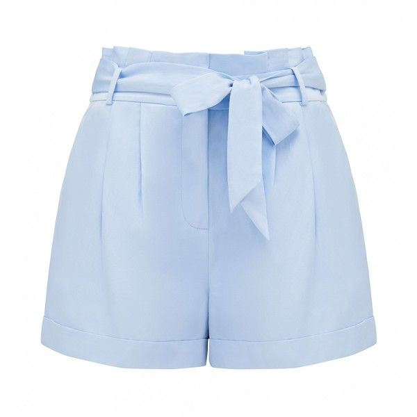 Forever New Yasmin Paperbag Shorts (1.785 RUB) ❤ liked on Polyvore featuring shorts, glass blue, paperbag shorts, paper bag waist shorts, blue shorts, paper bag shorts and tie belt