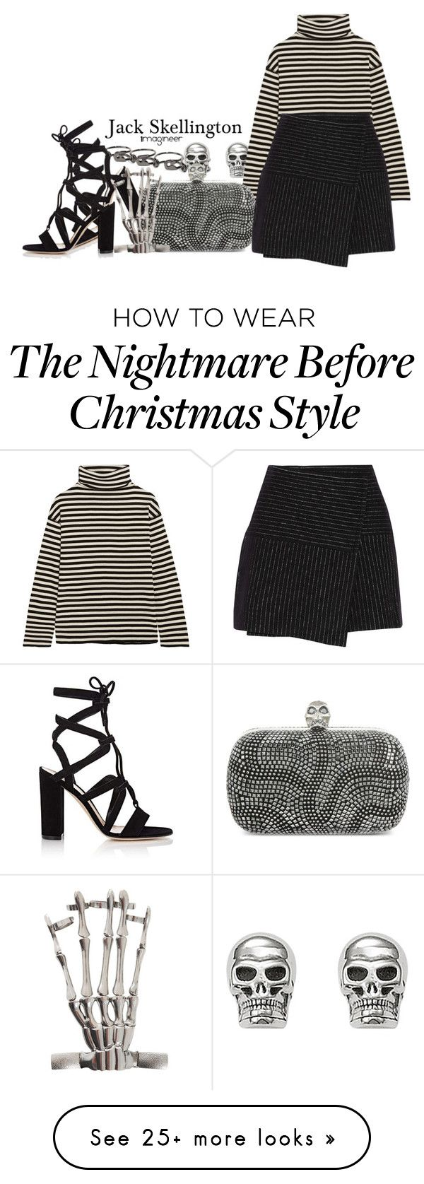 """""""Jack Skellington (The Nightmare Before Christmas)"""" by claucrasoda on Polyvore featuring Maison Margiela, Thomas Sabo, SJYP, Alexander McQueen, Alice + Olivia, Gianvito Rossi, Hot Topic, stripesonstripes and PatternChallenge"""