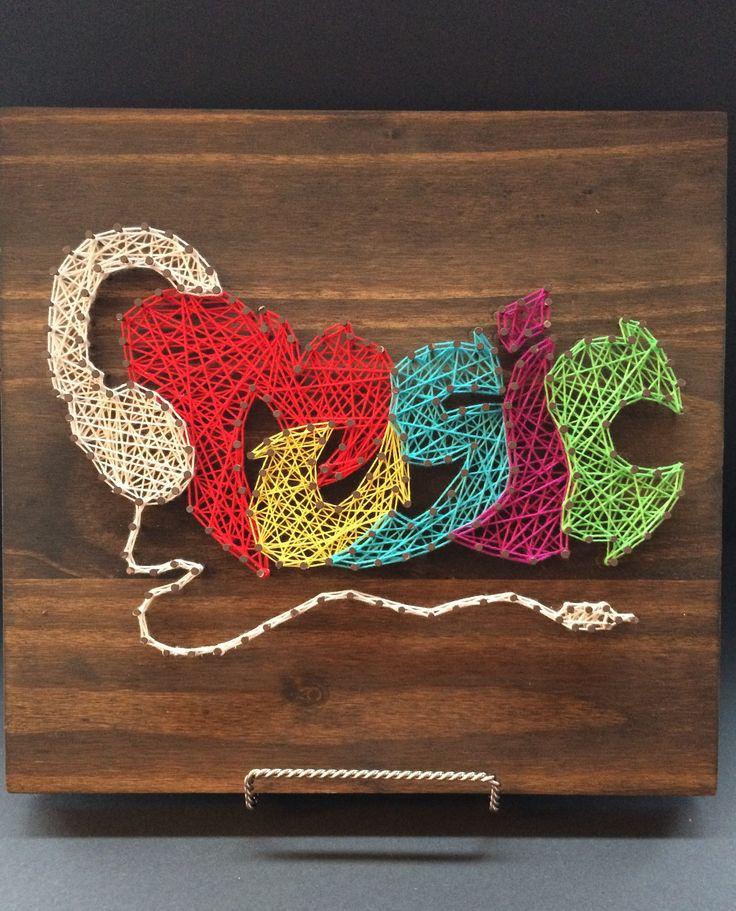 String Art: Music Graffiti Text, Colourful, Wall Art, Home Decor, Musician, Headphones by StringsAndStrokesArt on Etsy