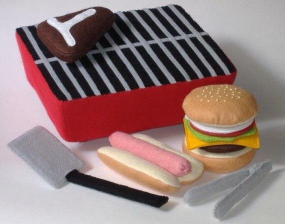 Felt Food Pattern - Backyard BBQ Play Set PDF Pattern Hot Dog, Hamburger, Steak, Grill and Accessories