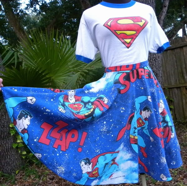 Superman circle skirt made from a vintage sheet.