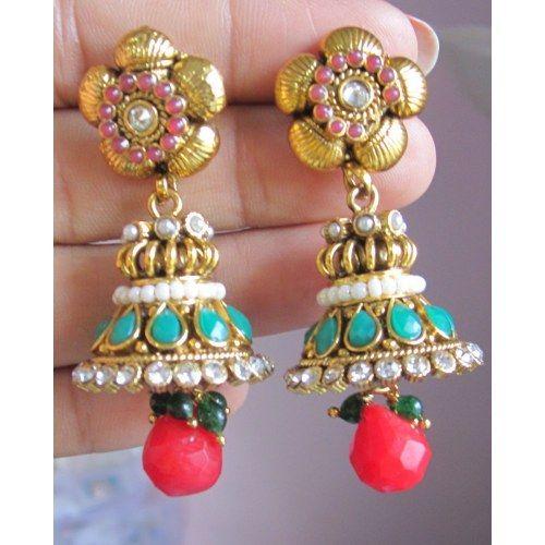 JHUMKA  POLKI GOLD TONE  RED GREEN PEARL  DANGLER Bollywood TEMPLE EARRINGS