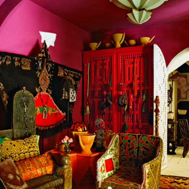 Moroccan... pink red and mint ceiling accent...for the garden studio bedroom?: Decor, Interior, Style, Color, Livingroom, Living Room, House, Bohemian, Design