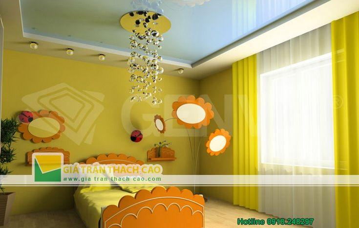 Thiết kế trần thạch cao cho phòng ngủ trẻ em 07