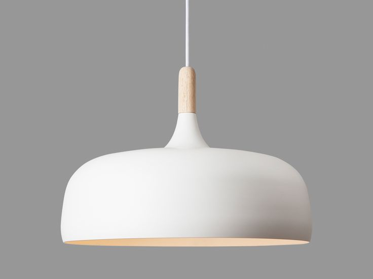 Northern Lighting Acorn Pendant Light. Acorn is an organically shaped pendant lamp constructed from the combination of an oak top wooden part and oil painted off-white aluminium shade elements.