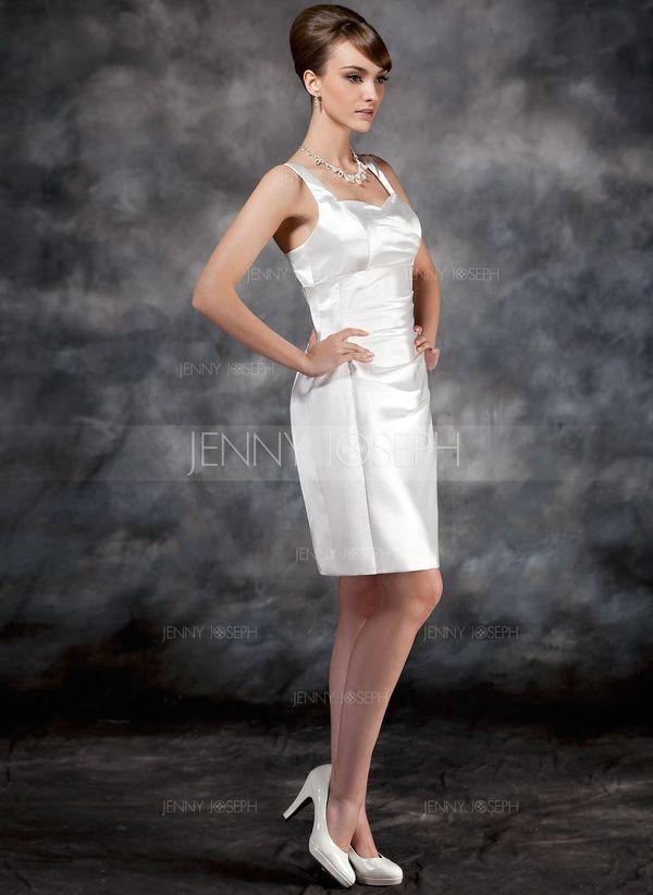 Платье-чехол В виде сердца Колен Шармёз Свадебные Платье с Рябь (002012748)