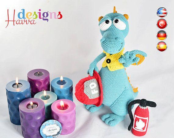 PATTERN - Blummy The Fireman Dragon (Amigurumi Crochet)