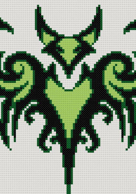 Point de croix celtique motif Tribal Bat par CowbellCrossStitch