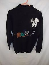 Crystal Kobe Black Womens SWEATER Size L Detective Sleuth Hound Dog SS45