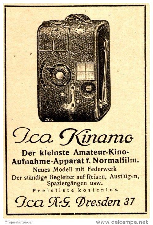 Original-Werbung/ Anzeige 1926 - ICA KINAMO FILMKAMERA / ICA DRESDEN - ca. 60 x 100 mm