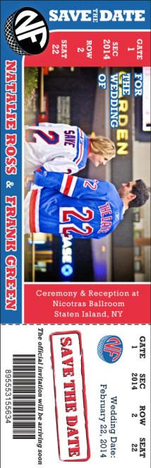 Our graphics department can work wonders with your personal photos turning them into a work of art.  Check out this NHL hockey themed wedding Save the Date - www.sportsthemedweddings.com