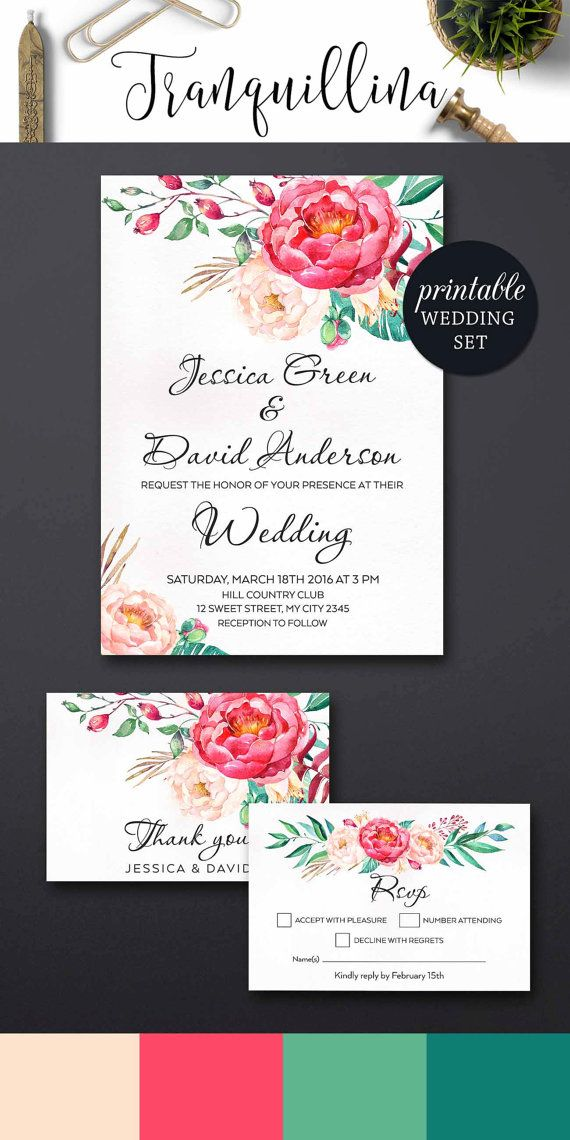 Spring Wedding Invitation, Floral Summer Wedding Invitation Suite, Boho Wedding Invitation, Peony Wedding Invitation Printable Wedding set. tranquillina.etsy.com
