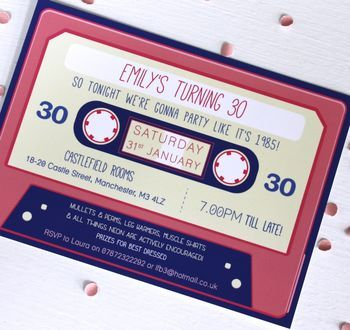 30th cassette Birthday Invitations. 80s themed party for a 30th birthday. cobalt and pink shades.