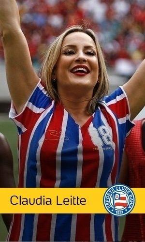 Outra diva do axé, Claudia Leitte é fã de carteirinha do Bahia. Ela costuma usar a camisa do time e cantar o hino do clube em seus shows
